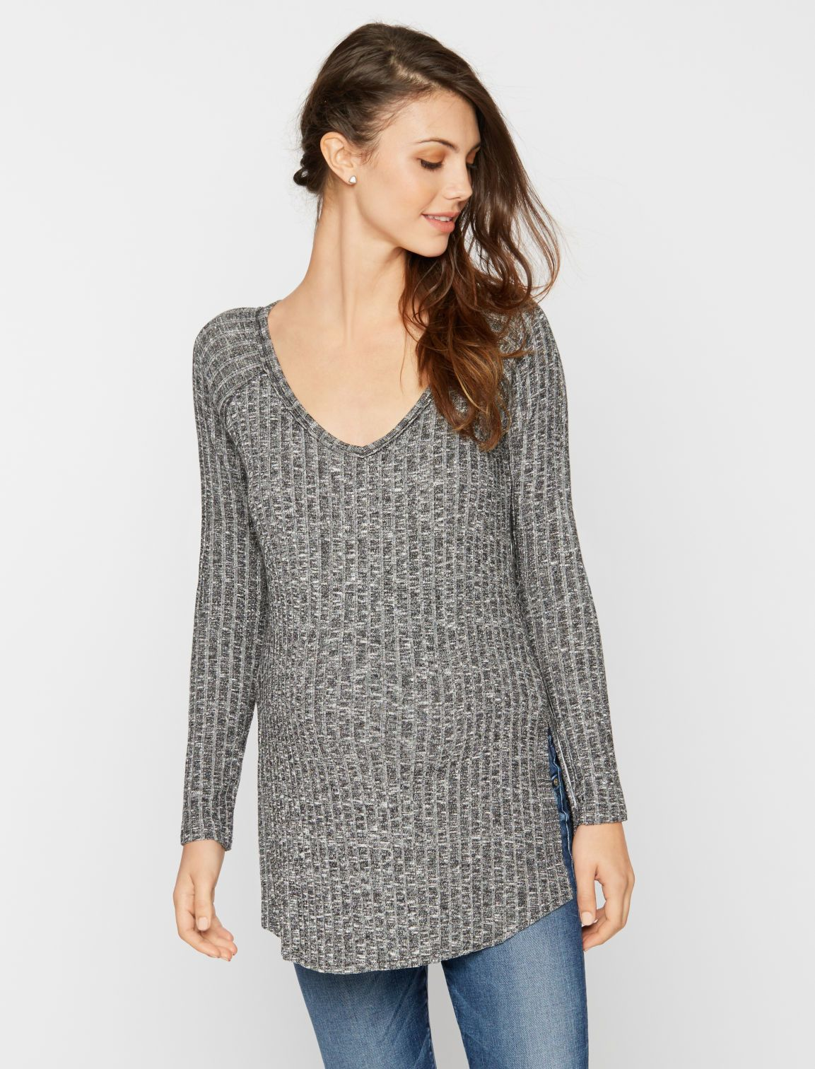 a4071a54a226f scoop neck raglan sleeve maternity sweater by A Pea in the Pod   5 Wardrobe  Secrets for Surviving the First Trimester. The lightweight ...