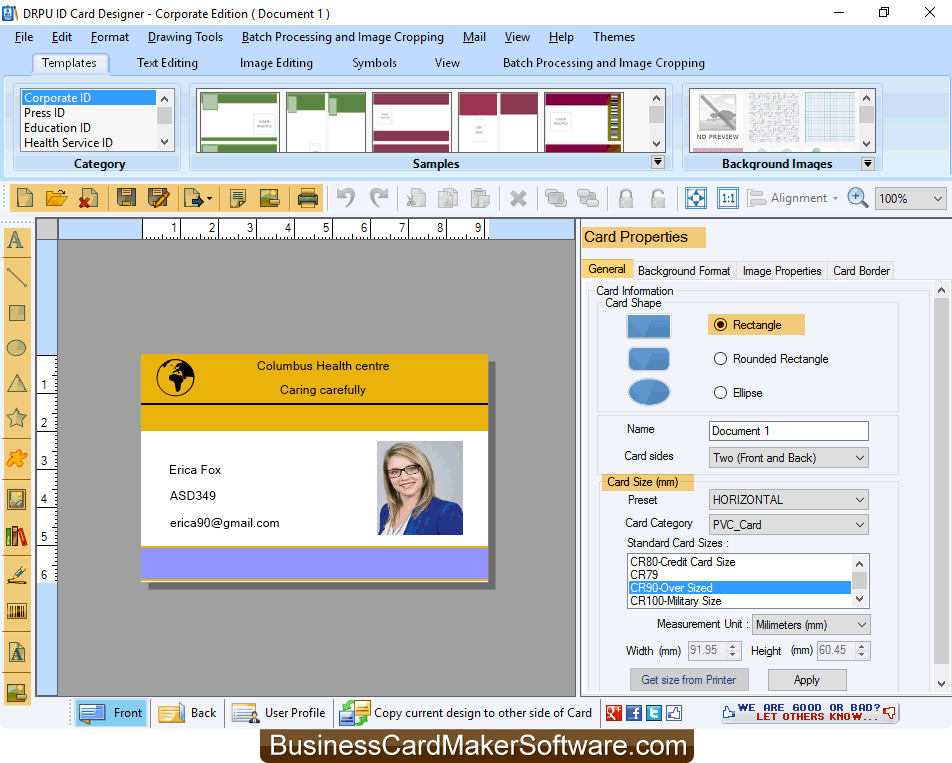 Printable Id Card Maker Businesscardmakersoftware Com Free Download Borrow And Streaming Card Maker Employee Id Card Editing Symbols