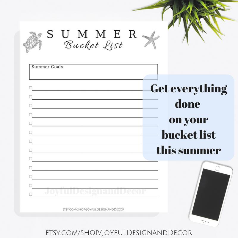 summer bucket to do list digital template summer goals beach