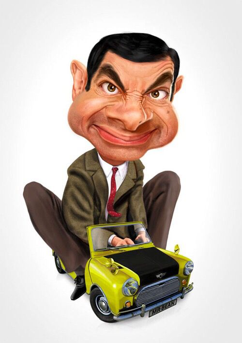 Mr Bean Riding On A Toy Car Caricature Art Caricatures Unlulerin Karikaturleri Karikatur