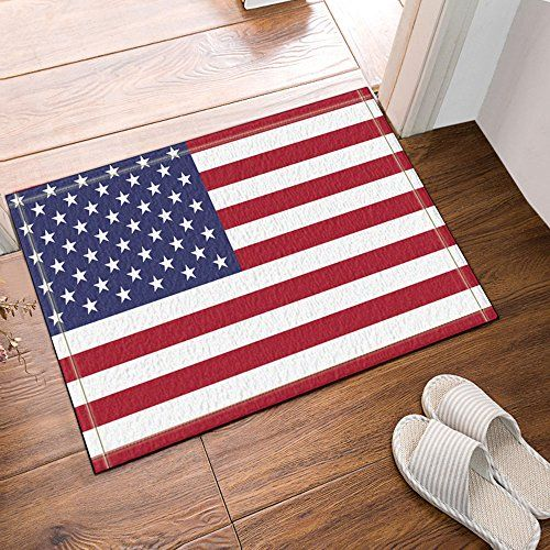 Nymb American Flag Blue And Red 60x40cm Flannel Non Slip Floor Mat Bath Rug Doormat Bathroom Carpet With Patterns