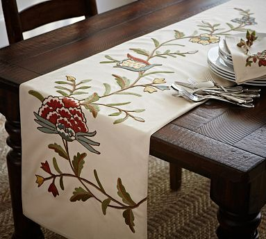 I Want This For My Dining Room Table! Multi Crewel Embroidered Table Runner  #potterybarn