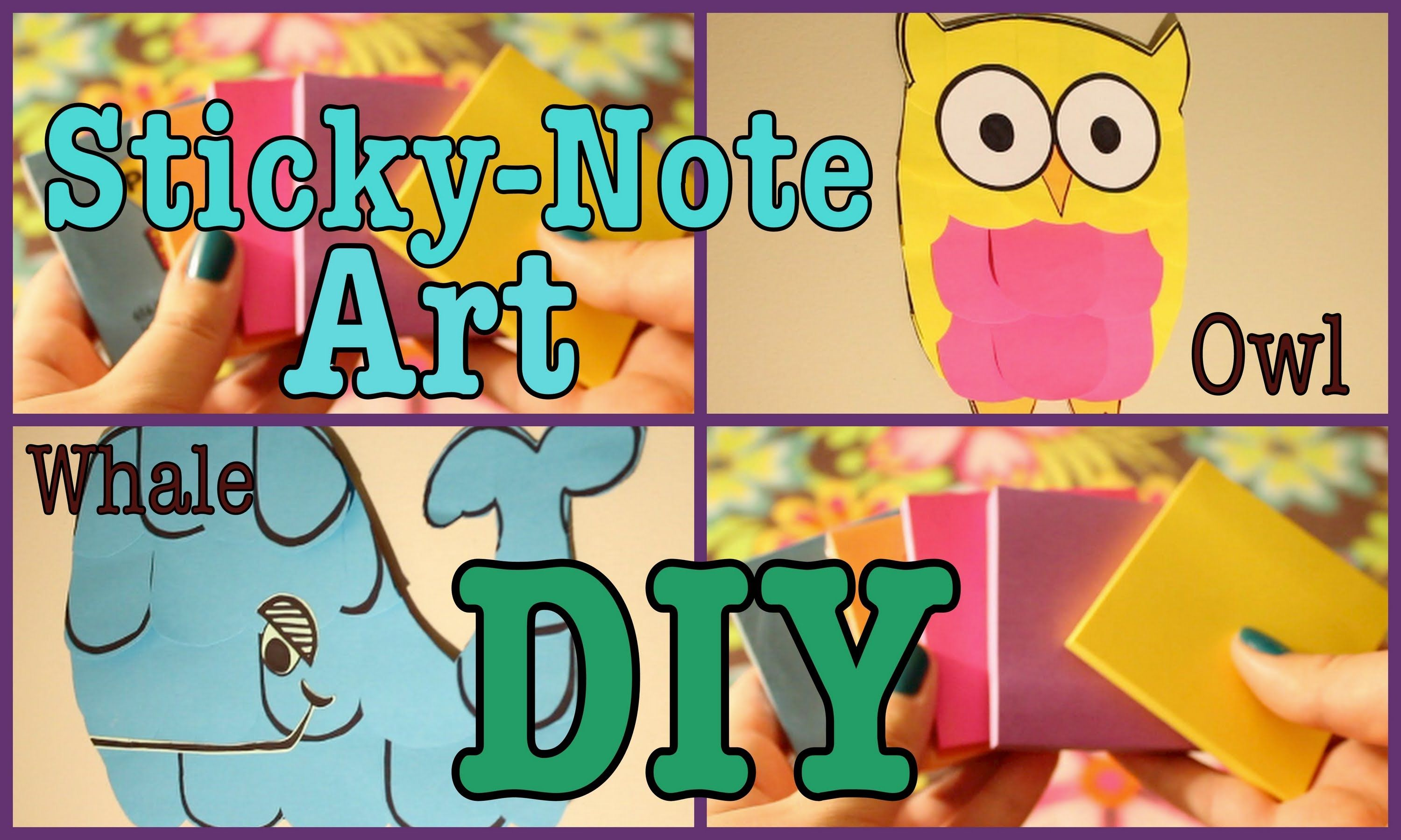 DIY: STICKY-NOTE ART || Owl/Whale (+playlist) | DIY | Pinterest
