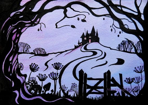 Fairytale Castle with Tree Silhouette by Mary Florence