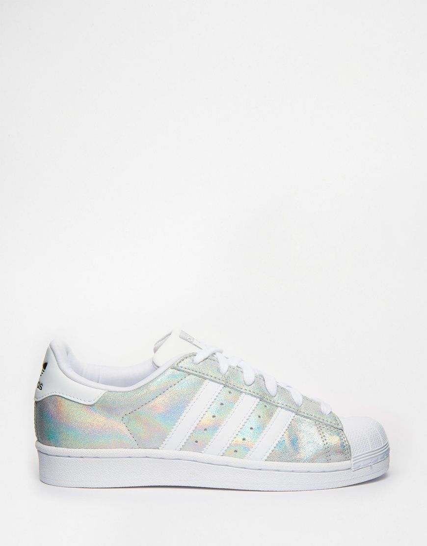 adidas Originals Superstar Holographic White Trainers at asos.com