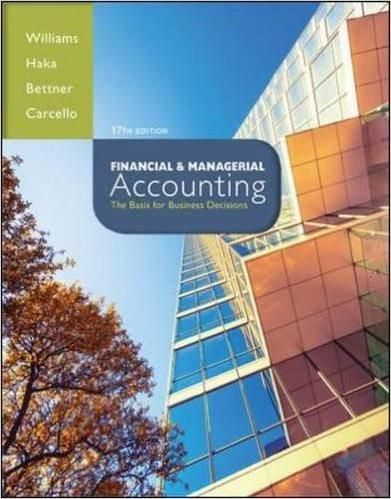 Financial managerial accounting 17th edition by jan williams isbn financial managerial accounting 17th edition by jan williams author susan haka author fandeluxe Choice Image