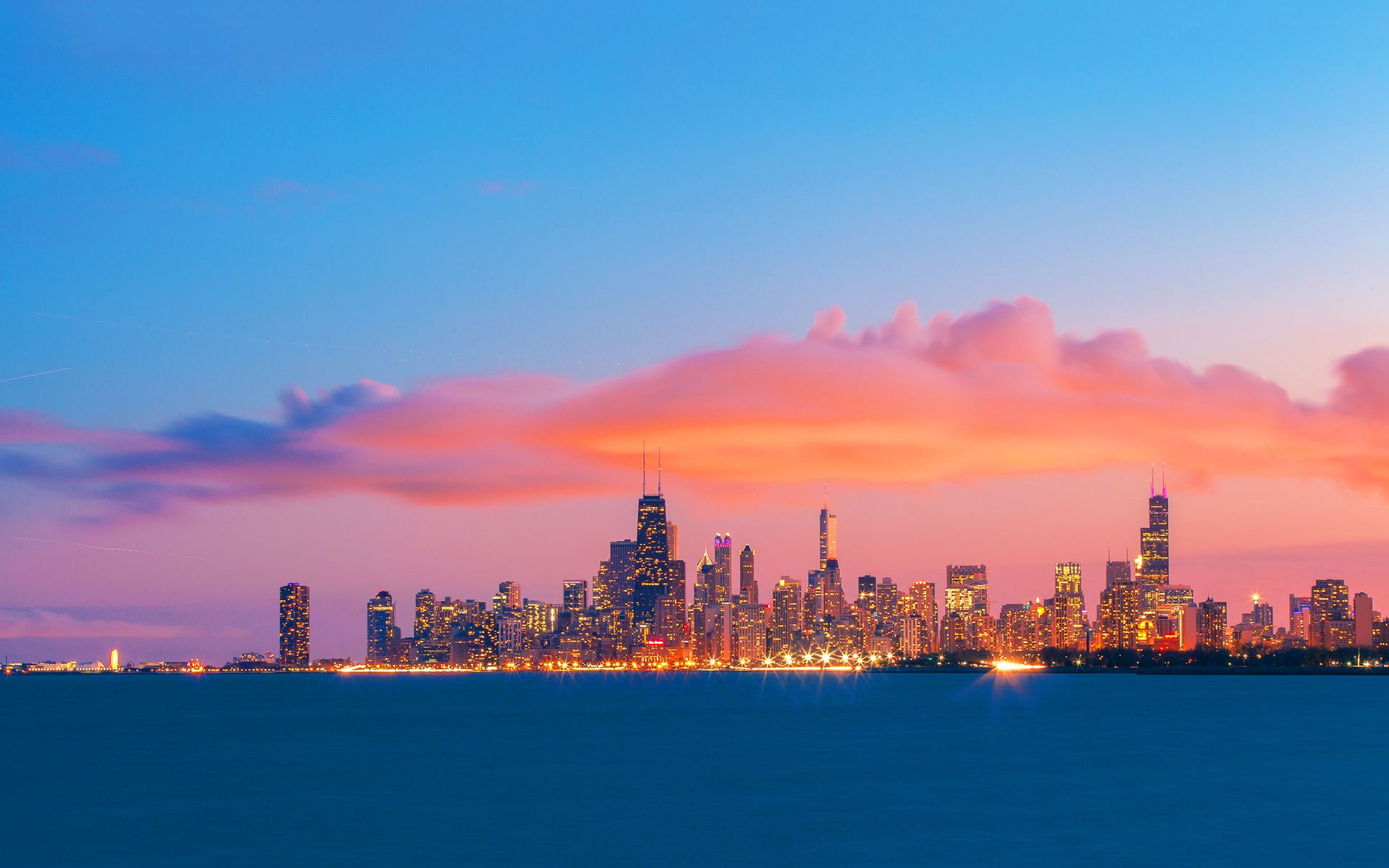 chicago sunset Chicago skyline evening sunset Wallpapers