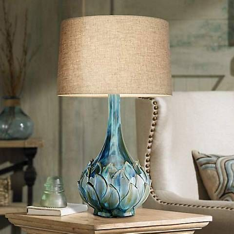 Possini Euro Kenya Blue Green Ceramic Table Lamp 7d486 Lamps Plus Ceramic Table Ceramic Table Lamps Modern Table Lamp