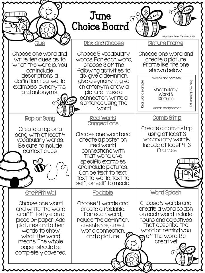 vocabulary choice board - Google zoeken | Word Work and Vocabulary ...