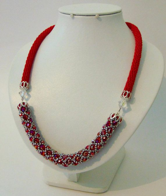Strawberries Czech Bead Red Crochet Rope Necklace | Crochet Necklace | Rope Necklace | Czech Bead Necklace | #beads