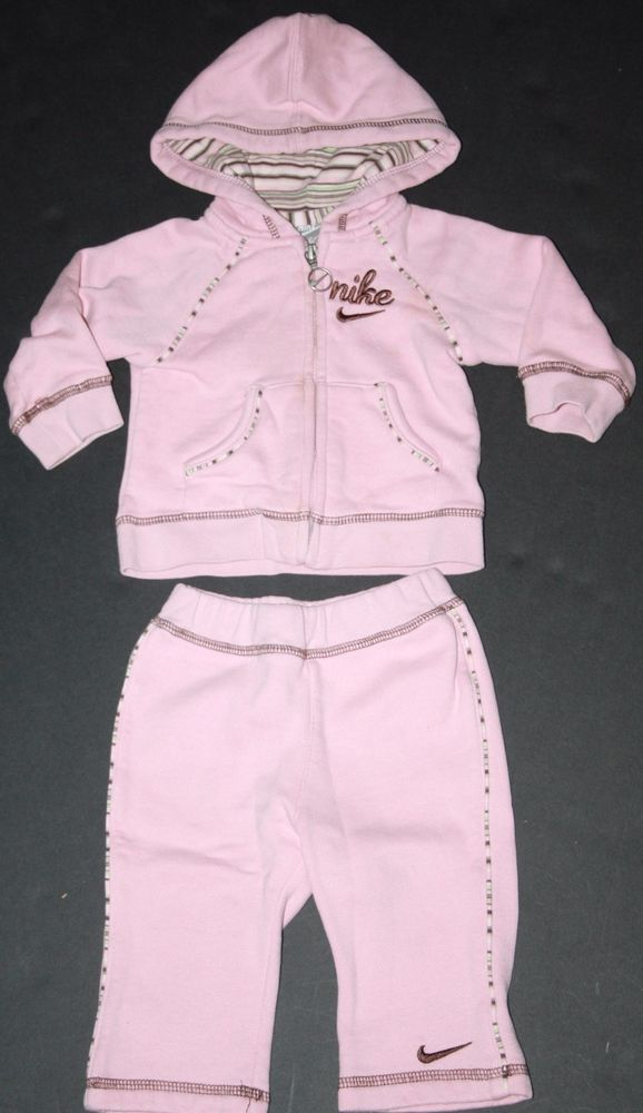 Nike Infant Girls Size 6 9 Months Pink Sweatsuit Tracksuit Nike