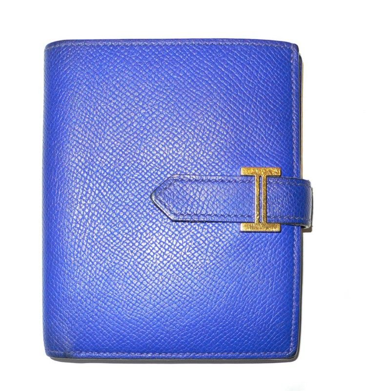 $895 HERMES BEARN ESPOM BLUE  LEATHER WALLET #hermes @Angela Gray Hermes @Steve Benson Mack