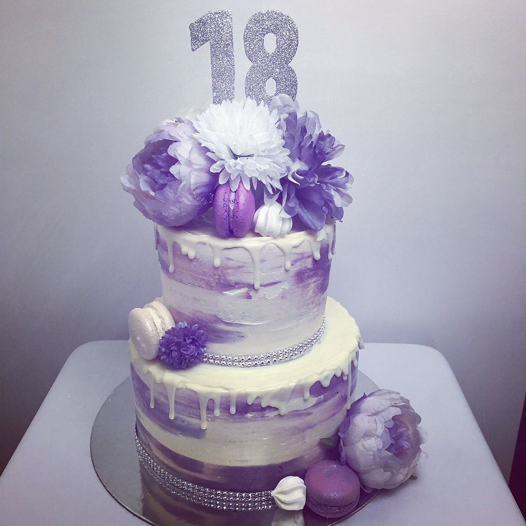 Enjoyable Purple White And Silver Drip Cake For An 18Th Birthday Decorated Funny Birthday Cards Online Ioscodamsfinfo