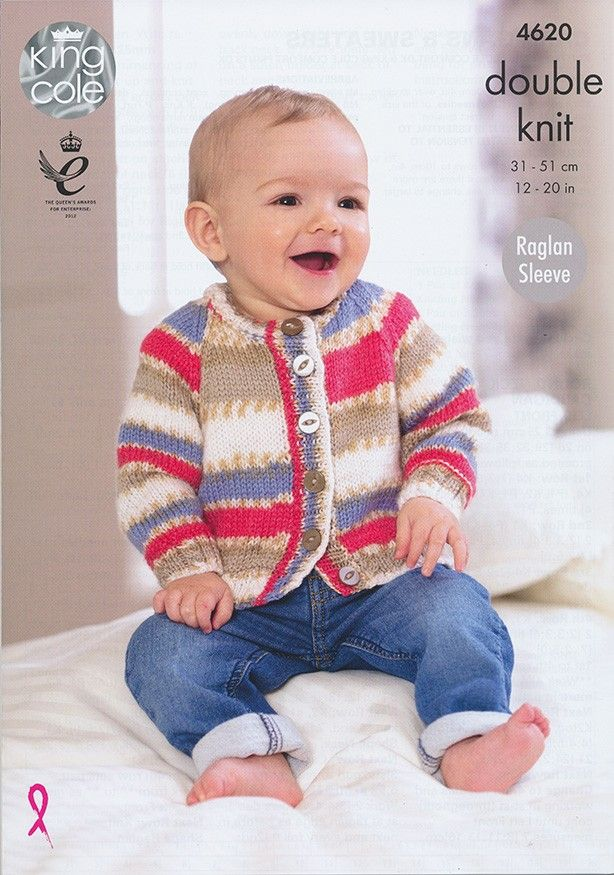 Baby KNITTING PATTERN Baby Cable Rib Cardigans /& Jumpers DK 4620 King Cole