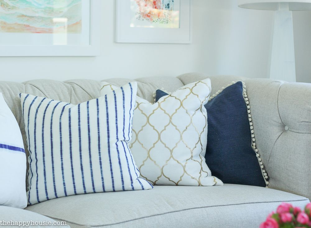 Coastal Style Blue and White Living Room Lakehouse Living Room Makeover Reveal for the One Room Challenge -39