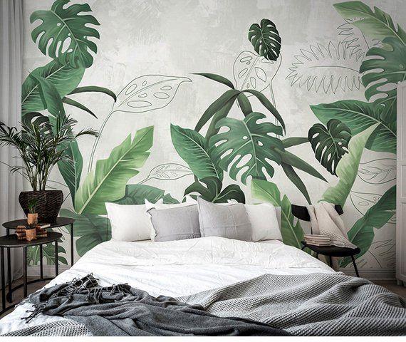 Photo of Southeast Asian rainforest plant wall murals wall decor, green leaves shrub wallpaper mural, tropical landscape wallpaper