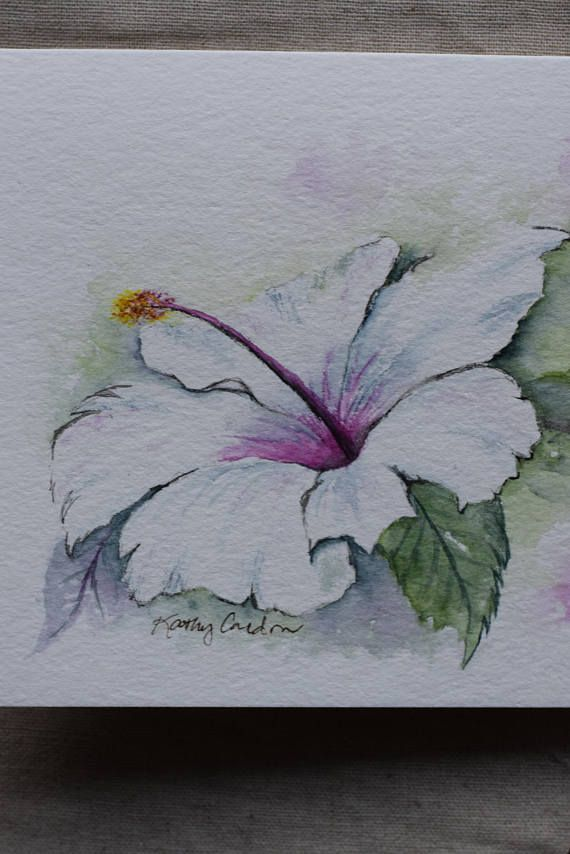 White Hibiscus Watercolor Painted Card Print In 2020 Flower