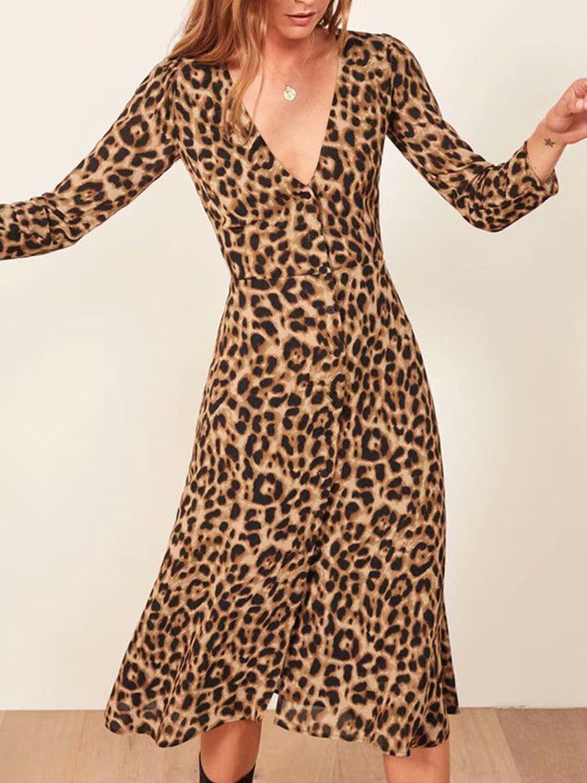 Brown Plunge Leopard Print Long Sleeve Women Midi Dress Womens Midi Dresses Leopard Print Dress Animal Print Dresses [ 1500 x 1125 Pixel ]