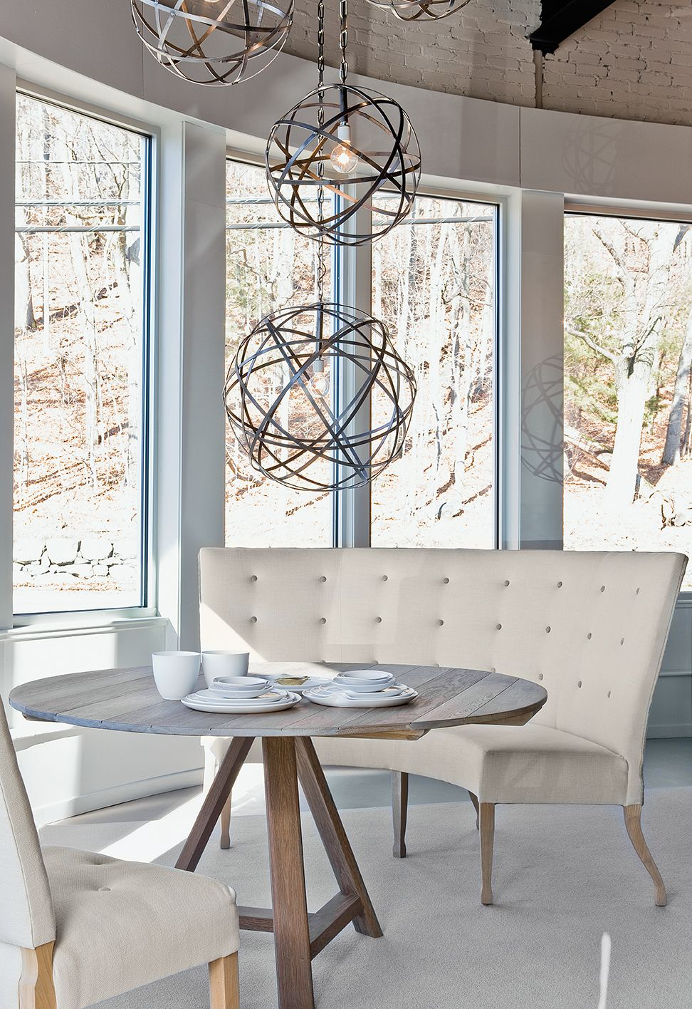 Round Dining Room Tables And Curves Sofa