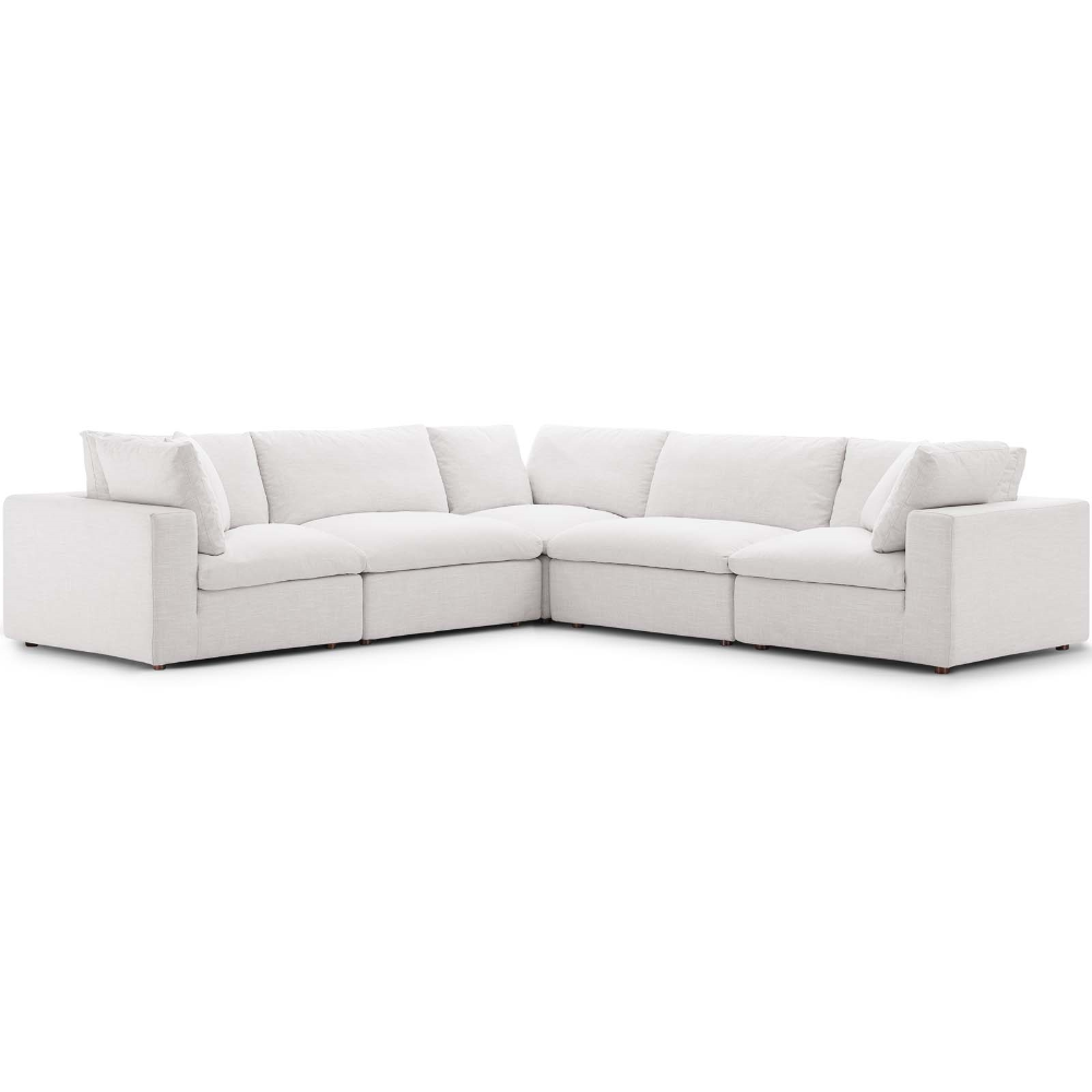 Commix Down Filled Overstuffed 5 Piece Sectional Sofa Set Contemporary Modern Furniture Modway In 2020 Sectional Sofa Beige Sectional Sofa Sofa Set #overstuffed #living #room #sets