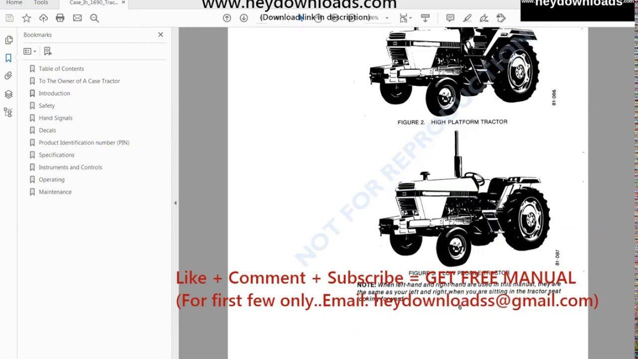 Case Ih 1690 Tractor Operators Manual Case Ih Tractors Manual