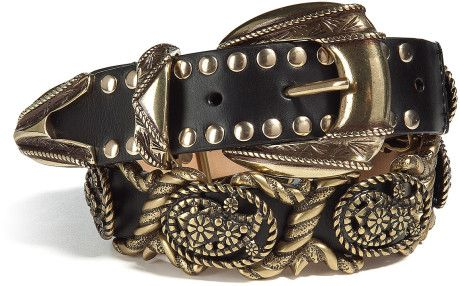 Black Paisley Jewelry Detail Belt - Lyst