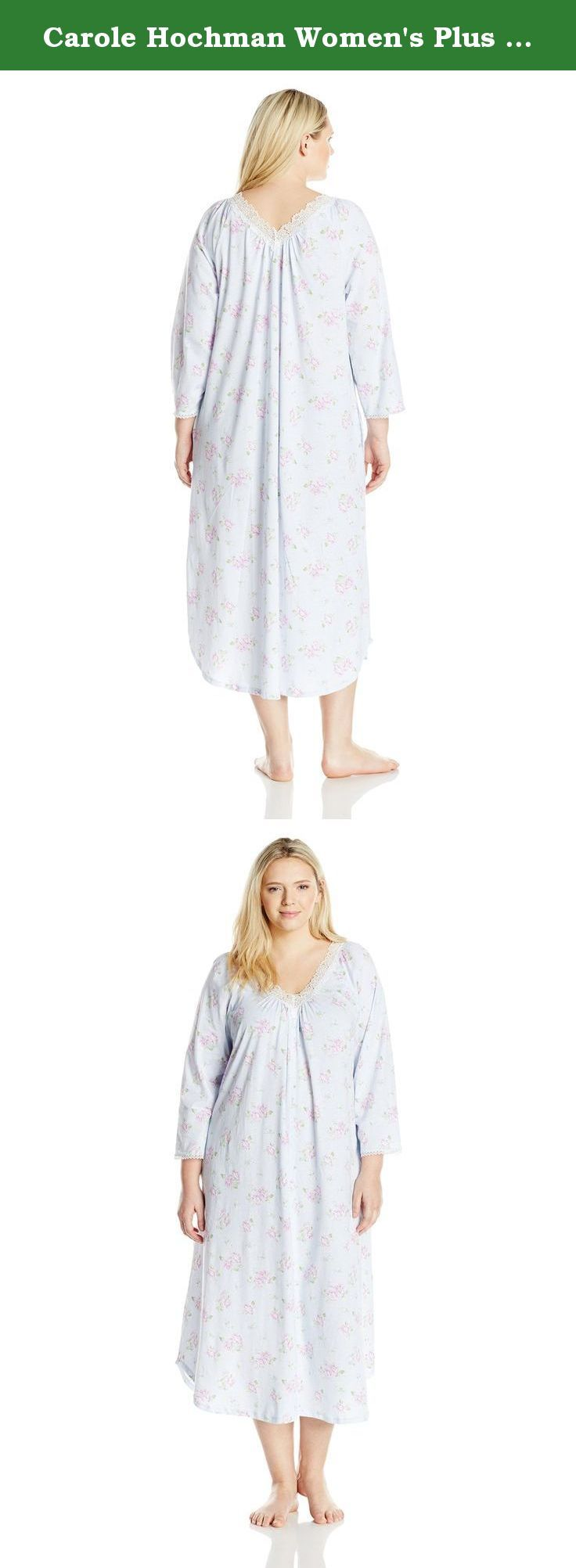Carole Hochman Women\'s Plus Size Floral Long Gown, Blossom Twin Blue ...