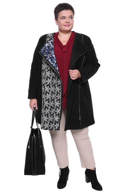 Czarny Plaszcz Z Motywem Kwiatowym Modne Duze Rozmiary Dla Puszystych Pan Sklep Internetowy Sweaters Bomber Jacket Jackets