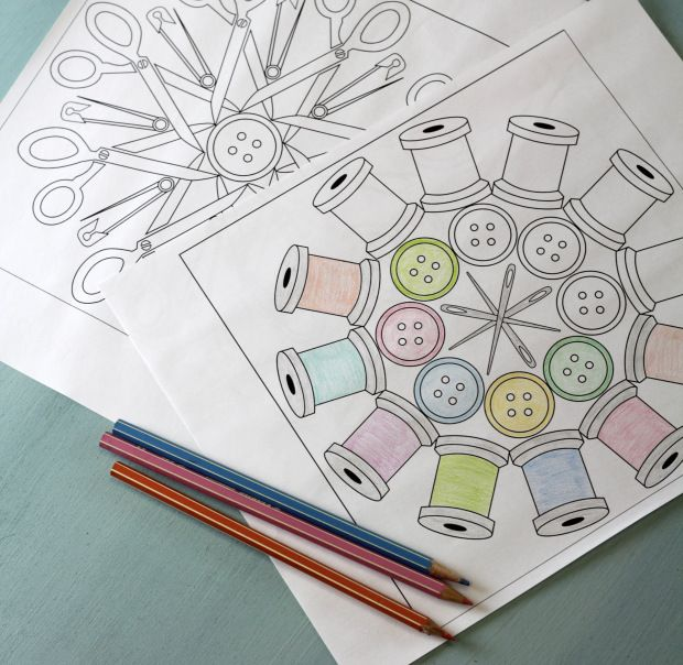We Love These Free Downloadable Sewing Themed Coloring Pages Featuring Notions