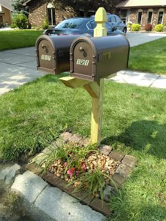Double Mailbox Post Makeover Double Mailbox Post Mailbox Landscaping Mailbox Makeover