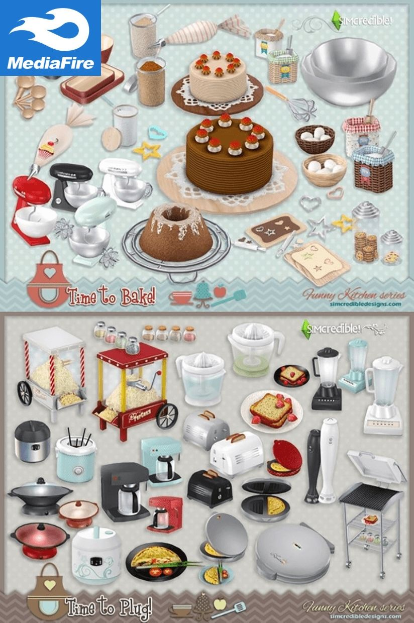 Sims 4 Cc Cooking Set Misc Time To Bake Time To Plug Mediafire Sims 4 Sims Sims 4 Cc Furniture