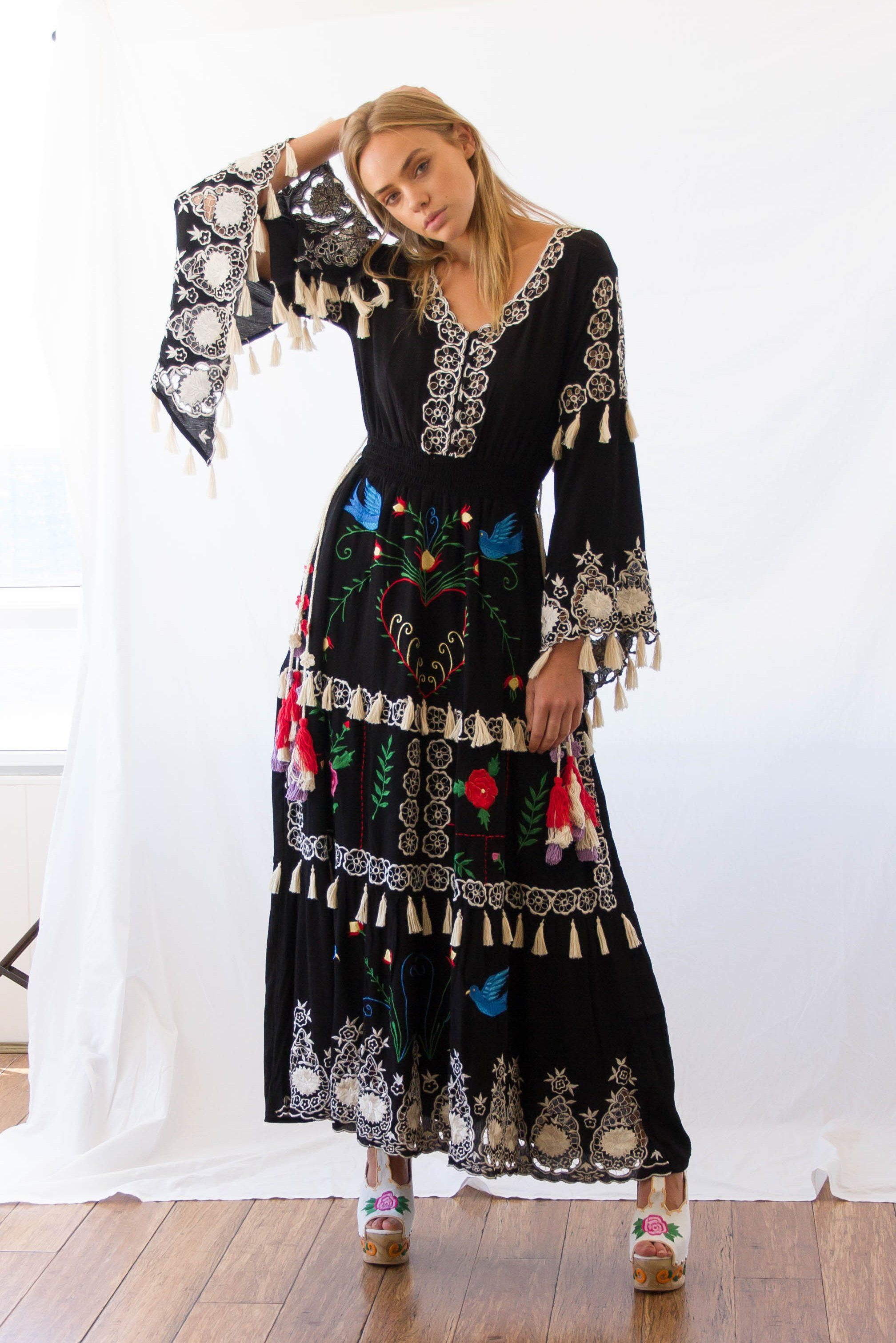 Fillyboo ulittle bearu hand embroidered maxi dress blackmulti