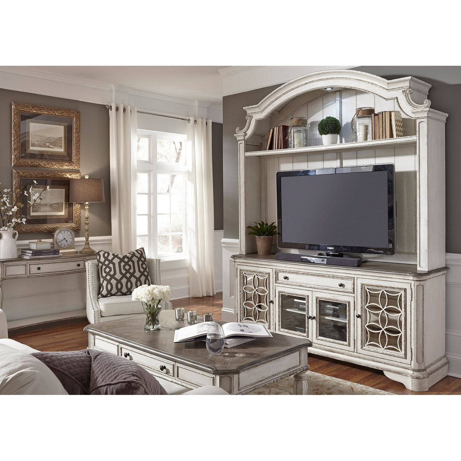 Magnolia manor tv stand with hutch remodel ideas pinterest tv