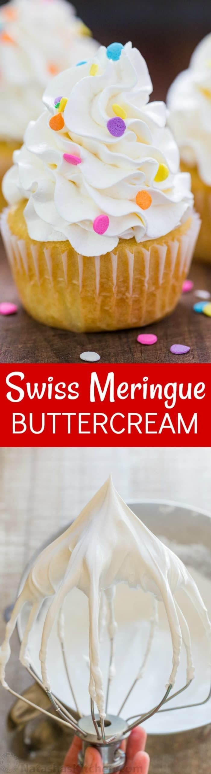 Swiss Meringue Buttercream will become your go-to buttercream frosting. Swiss meringue buttercream is silky and pipes beautifully on cakes and cupcakes   natashaskitchen.com #buttercream