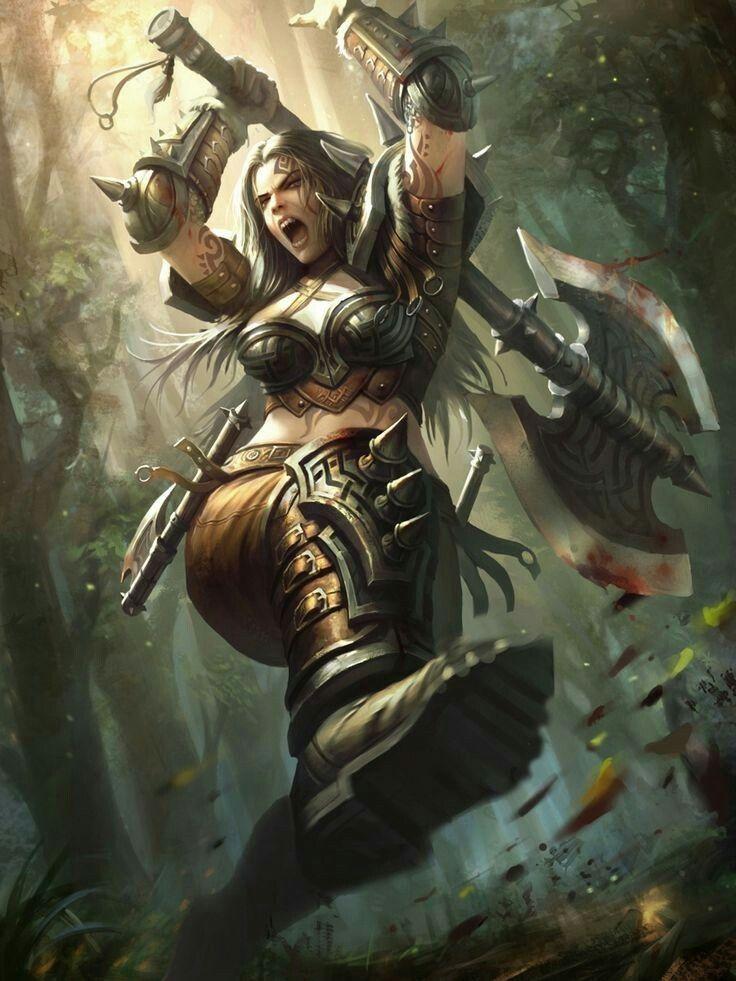 F ranger med armor battle axe forest hills outworlds - Fantasy female warrior artwork ...