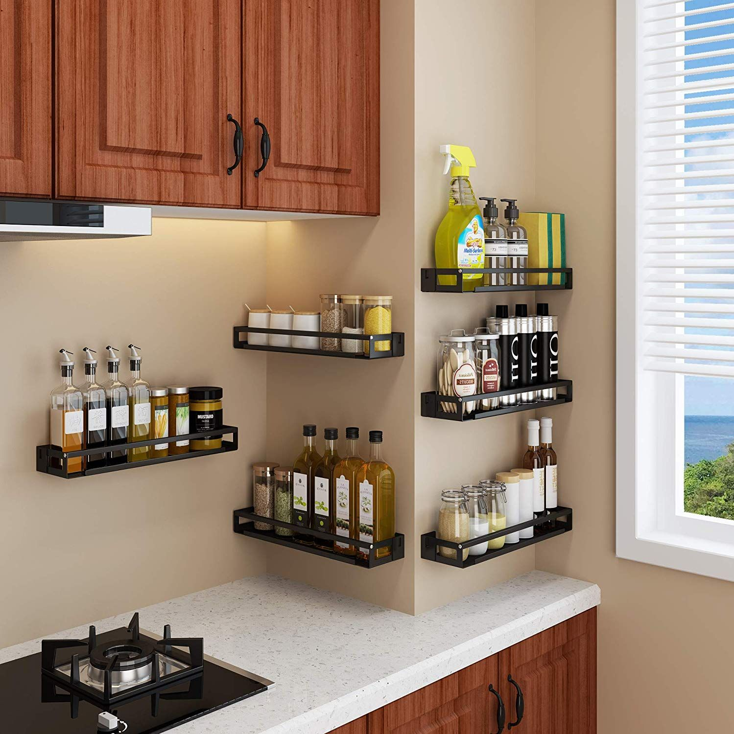 Black Single Layer Wall Mounted Kitchen Spice Rack Wall Mount Organizer 2 Sets Included Kitchen Wall Storage Kitchen Spice Racks Kitchen Spices