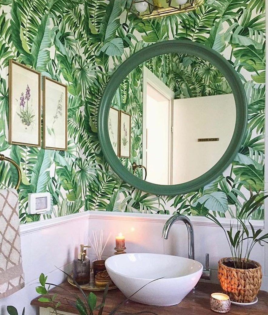 Alfresco Green Palm Leaf Wallpaper Palm Leaf Wallpaper Leaf Wallpaper Bathroom Wallpaper Trends