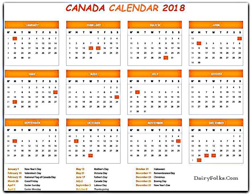free 2018 canada holidays calendar