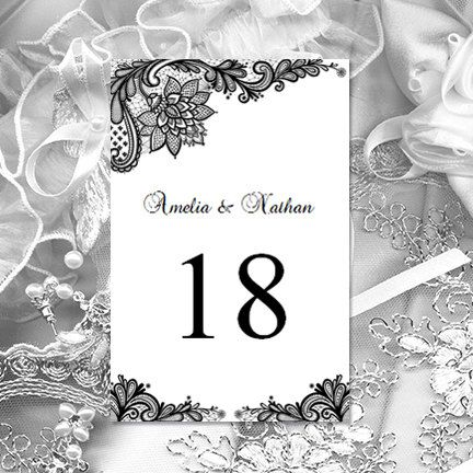 printable wedding table numbers vintage lace black 4 x 6