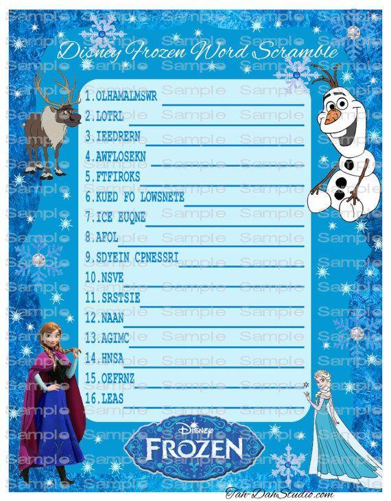 frozen birthday party games Disney Frozen Word Scramble Game