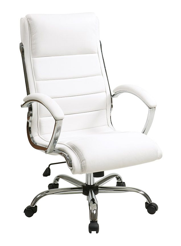white leather executive chair. INSPIRED By Bassett - Ellis Chrome Executive Chair In \ White Leather E