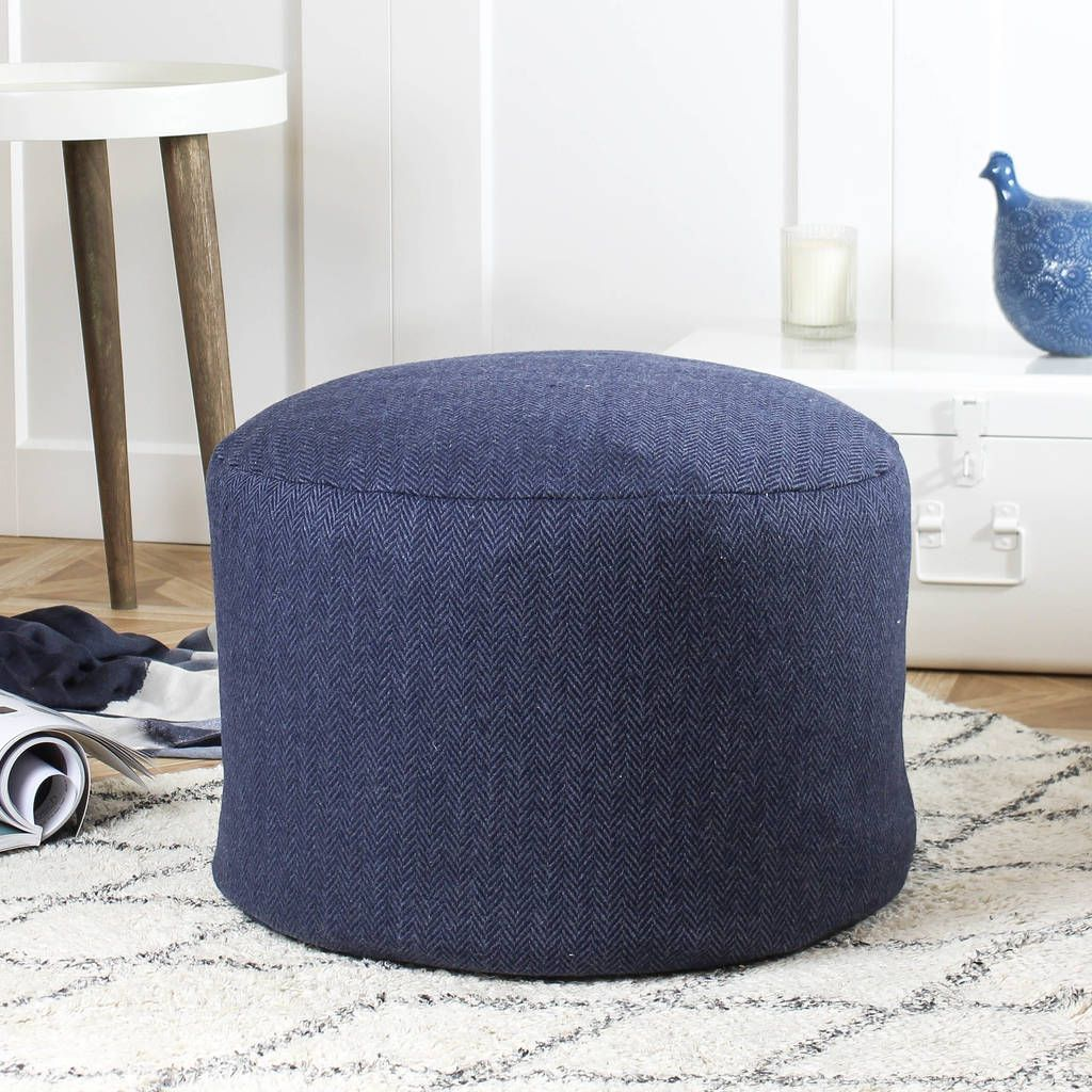 Are You Interested In Our Blue Wool Pouf With Our Navy Blue Herringbone Pouffe You Need Look No Further Pouffe Upholstered Storage Next Footstool