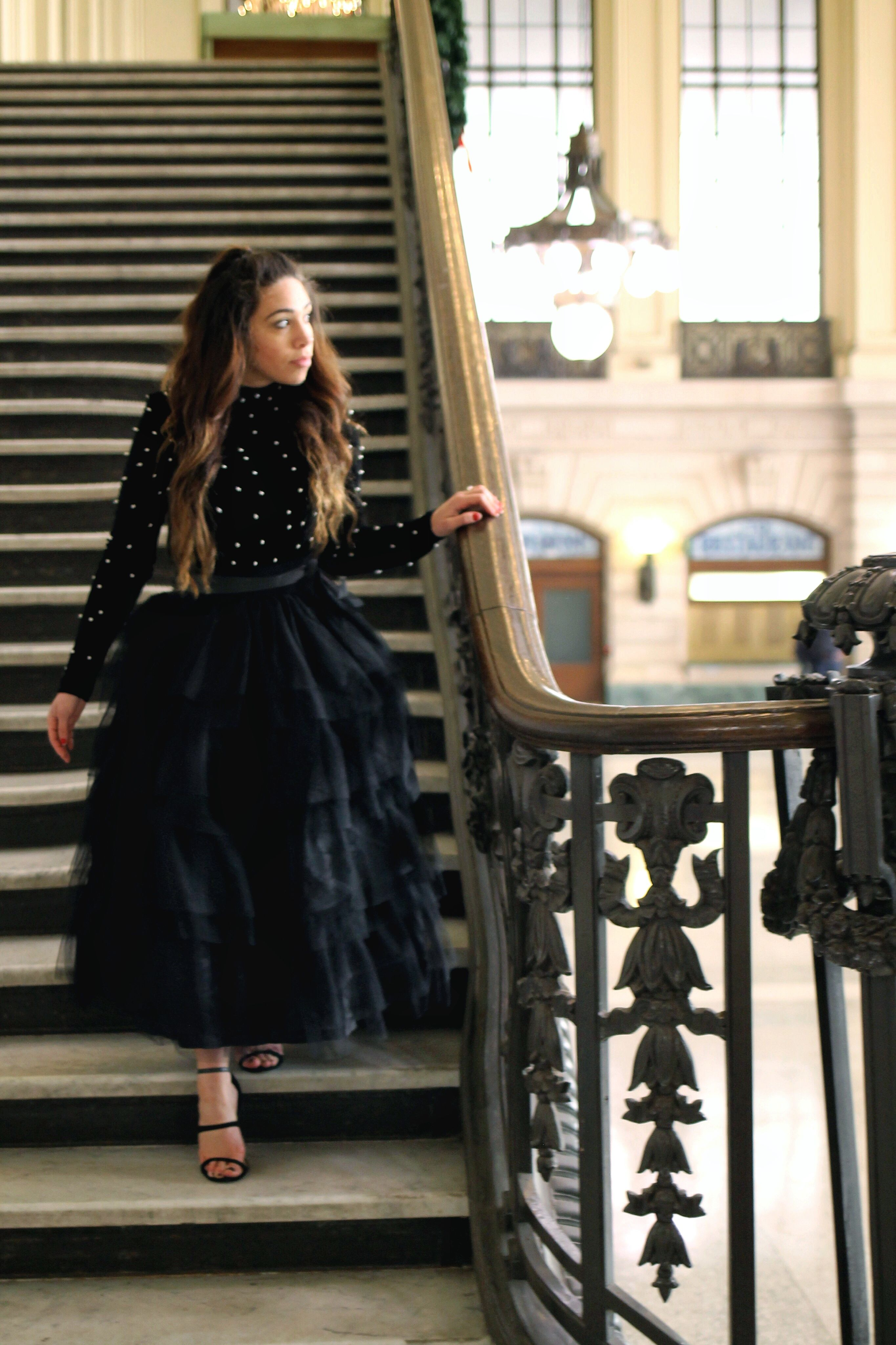 Bayann From Bay S Style Diary Wearing A Black Tulle Skirt And A Long Sleeve Velvet Turtle Neck T Tulle Skirt Black Tulle Skirts Outfit Black Tulle Skirt Outfit [ 4096 x 2730 Pixel ]