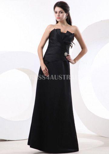 A Line Strapless Black Satin Floor Length Bridesmaid Dresses 8132018