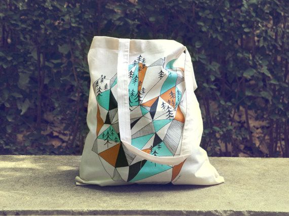 Geometric mountain - screen printed canvas Tote bag