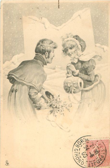 couple stand gazing into each other's eyes bending towards each other, he carries mistletoe, her hands together above muff