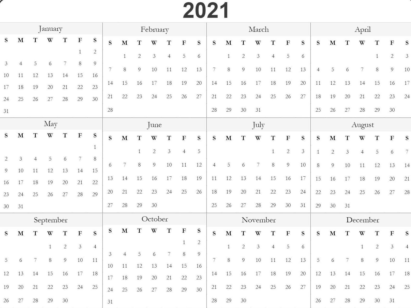 Blank Printable 2021 Calendar Template in 2020 | Free printable