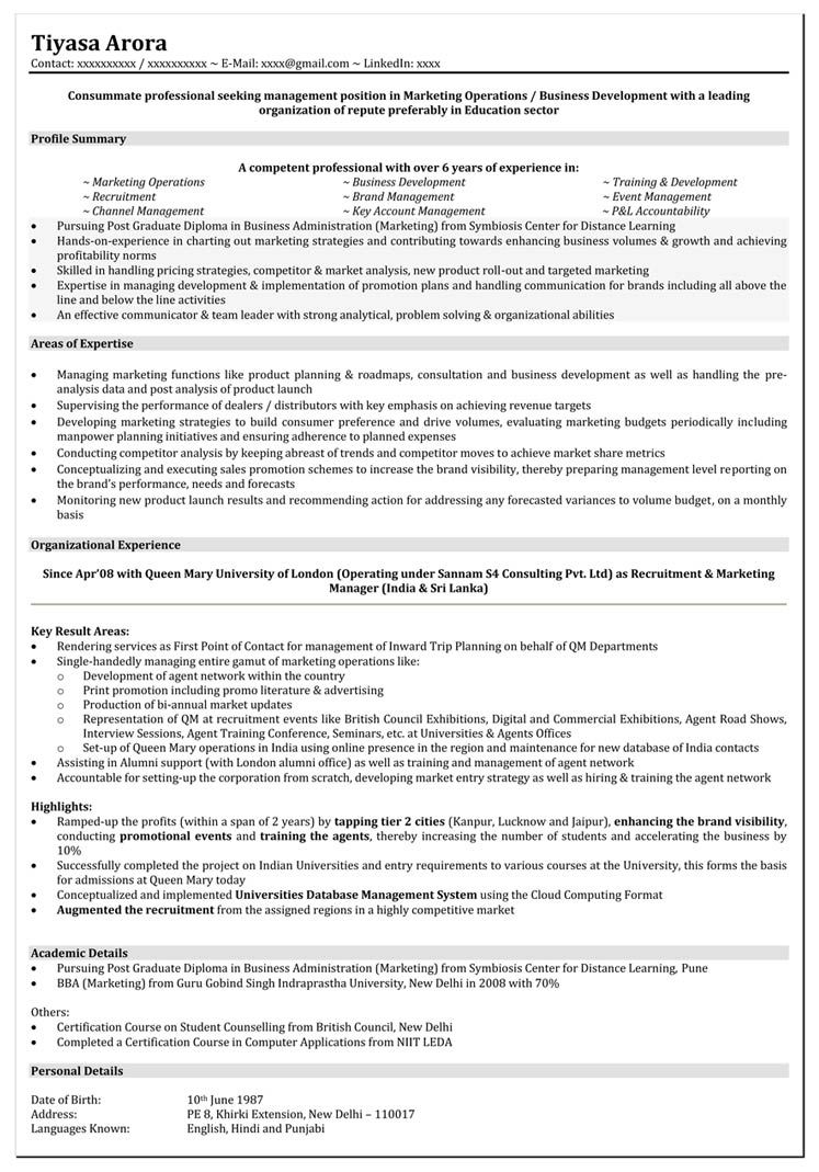 Resume Format For 5 Years Experience In Marketing Marketing