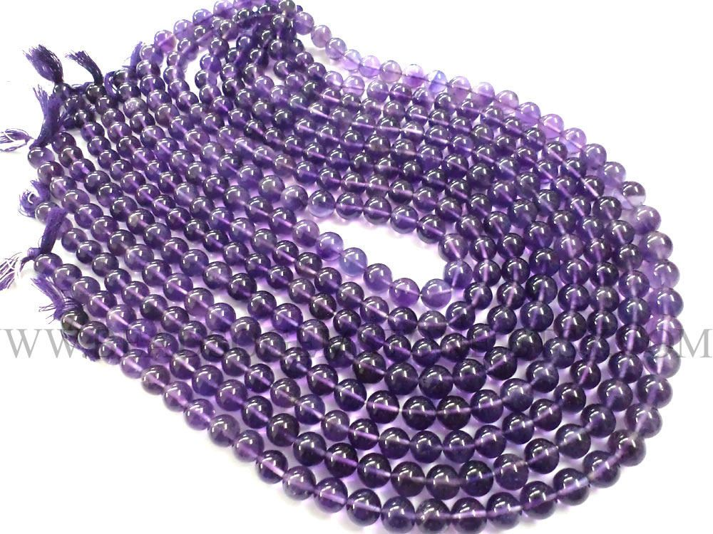 Amethyst (African) Smooth Round (Quality AA) / 7.50 to 8.50 mm / 36 cm / AMET-042 by beadsogemstone on Etsy