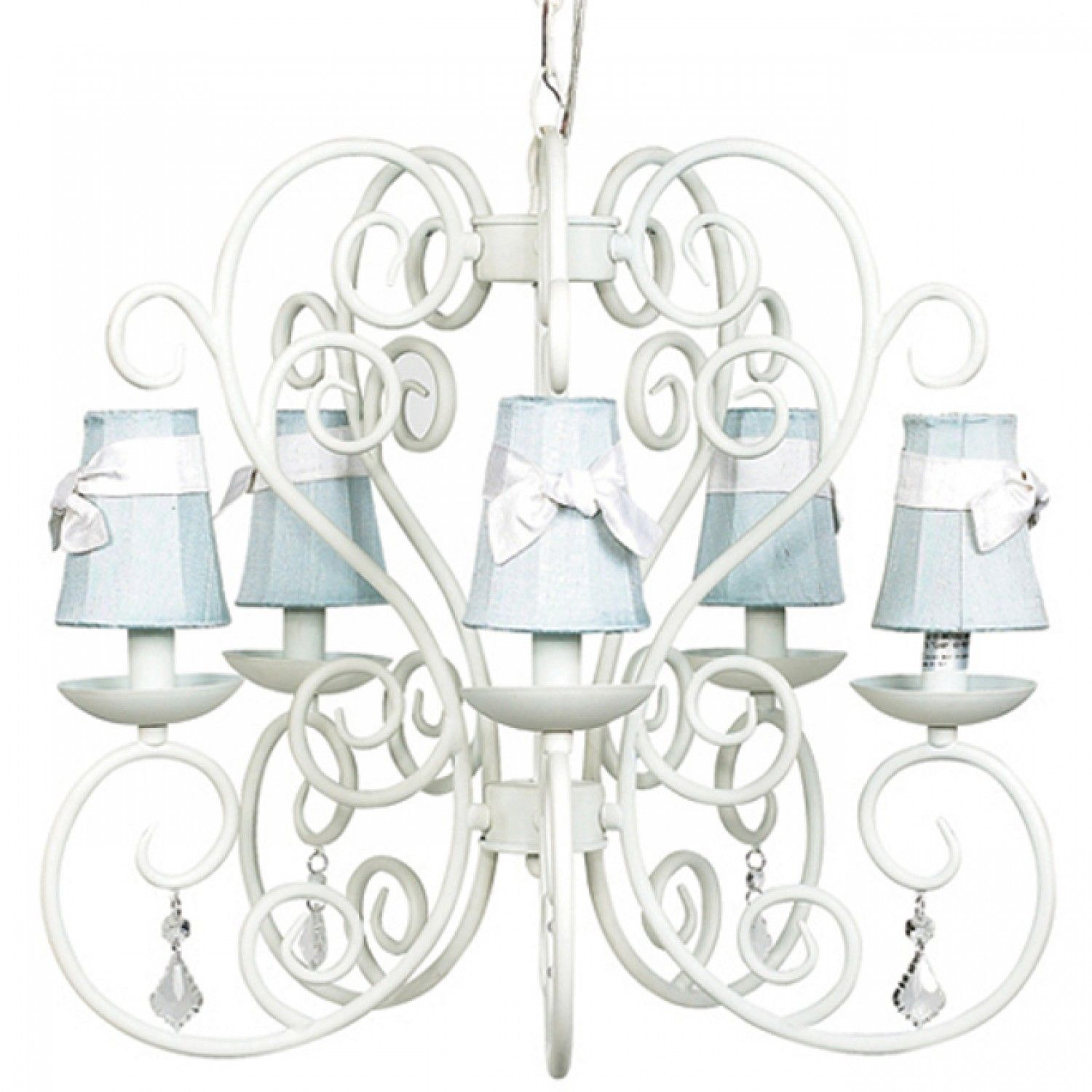Carriage Chandelier in White with Blue Silk Shades
